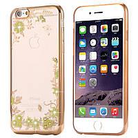 """Силиконовый золотой чехол """"Цветы"""" для iPhone 6/6S"""