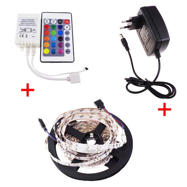 Комплект светодиодной ленты 2835 RGB цветная 5м + пульт + контроллер + блок питания