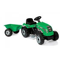 Smoby Детский трактор педальный с прицепом зеленый веломобиль GM Bull 33329 remorque vert green