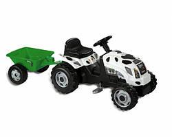 Smoby Детский трактор педальный с прицепом белый XL Claas 710113 GM Thme Vache
