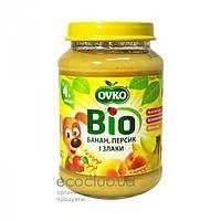 Пюре фруктовое Bio органическое Банан, персик и злаки Ovko 190г