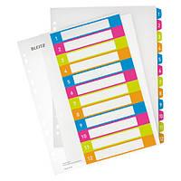 Разделители Leitz WOW – с возможностью печати на ПК, A4+ MAXI 1-12,  ESSELTE