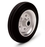 Колеса металлические с литой черной резиной, диаметр 80 мм, без кронштейна. Серия 11