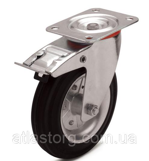 Колеса металеві з литою чорною гумою, діаметр 80 мм, з поворотним кронштейном і фіксатором PROFI