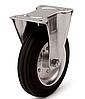 Колеса металлические с литой черной резиной, диаметр 80 мм, с неповоротным кронштейном PROFI