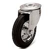 Колеса металлические с литой черной резиной, диаметр 80 мм, с поворотным кронштейном с отверстием PROFI