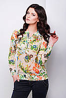 Бежевая шифоновая блуза с длинным рукавом и цветочным принтом