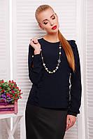 Темно-синяя женская шифоновая блуза с рюшами и длинным рукавом