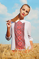 Оригинальная легкая блузка с принтом на полочке в стиле украинской вышиванки