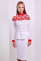 Белая деловая блуза с принтованной отделкой красным кружевом