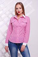 Розовая блуза в мелкую клетку классического кроя