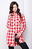 Удлиненная женская фланелевая рубашка в красно-белую клетку