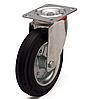 Колеса металлические с литой черной резиной, диаметр 125 мм, с поворотным кронштейном PROFI