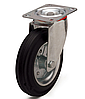 Колеса металлические с литой черной резиной, диаметр 200 мм, с поворотным кронштейном PROFI
