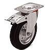 Колеса металлические с литой черной резиной, диаметр 100 мм, с поворотным кронштейном и фиксатором PROFI