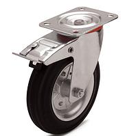 Колеса металеві з литою чорною гумою, діаметр 200 мм, з поворотним кронштейном і фіксатором PROFI