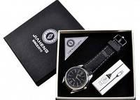 USB зажигалка -часы в подарочной упаковке (спираль накаливания, кварц) 4829-1