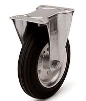 Колеса металеві з литою чорною гумою, діаметр 200 мм, з неповоротним кронштейном PROFI