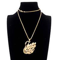 Ожерелье цепочка на шею лебедь с камнями