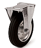 Колеса металлические с литой черной резиной, диаметр 280 мм, с неповоротным кронштейном PROFI