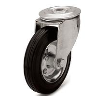 Колеса металлические с литой черной резиной, диаметр 125 мм, с поворотным кронштейном с отверстием PROFI