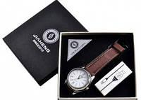 USB зажигалка -часы в подарочной упаковке (спираль накаливания, кварц) 4829-2
