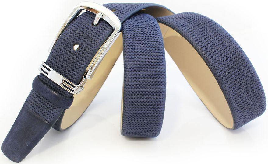 Мужской кожаный ремень для брюк MYKHAIL IKHTYAR 6454 синий