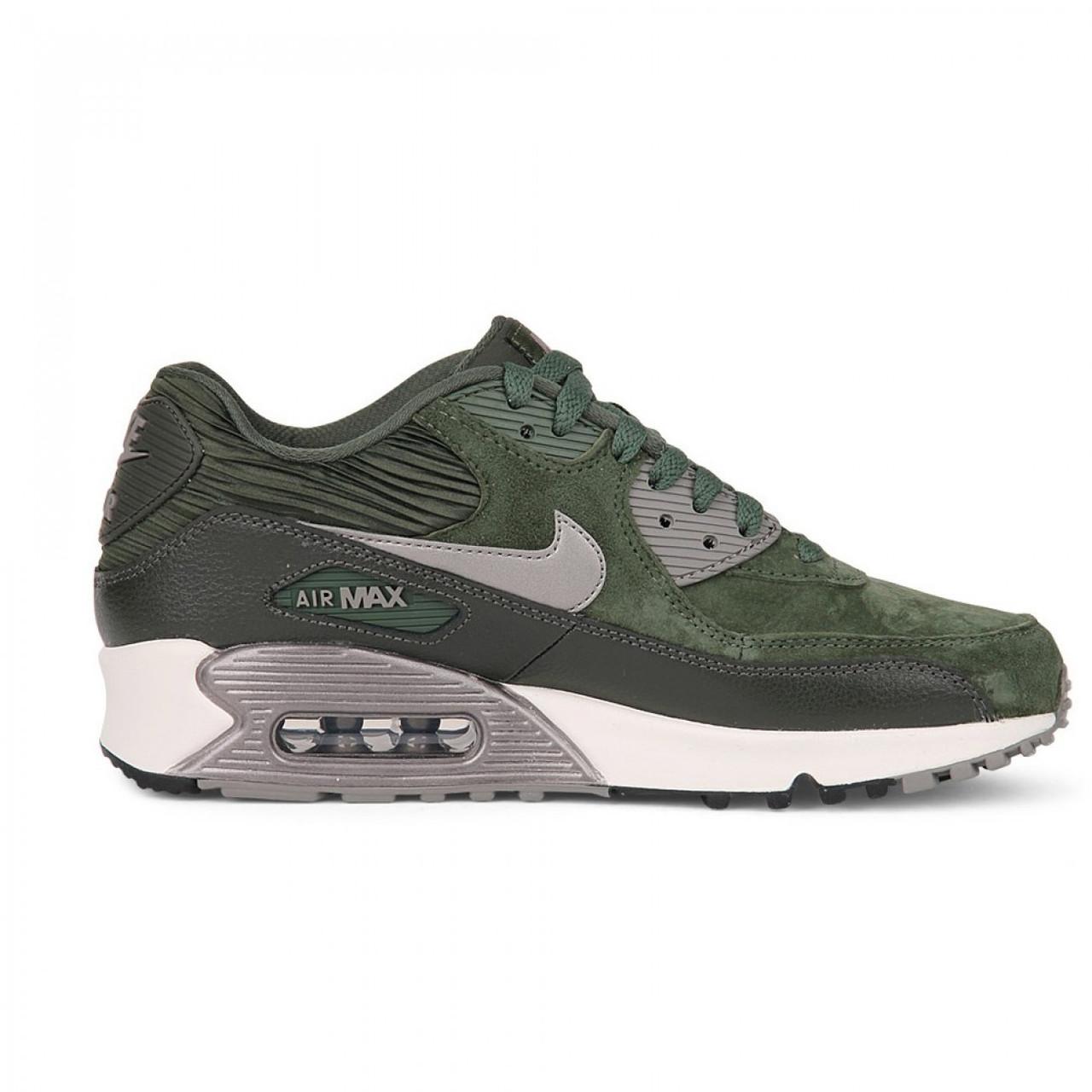 Женские кроссовки Nike Air Max 90 LTHR Carbon Green топ реплика