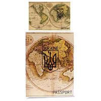 Обложка на паспорт прозрачная с вставкой глобус (50)