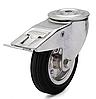 Колеса металлические с литой черной резиной, диам. 200 мм, с поворотным кронштейном с отверстием и фиксатором
