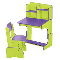 Регулируемая парта со стульчиком Bambi, салатово-фиолетовый