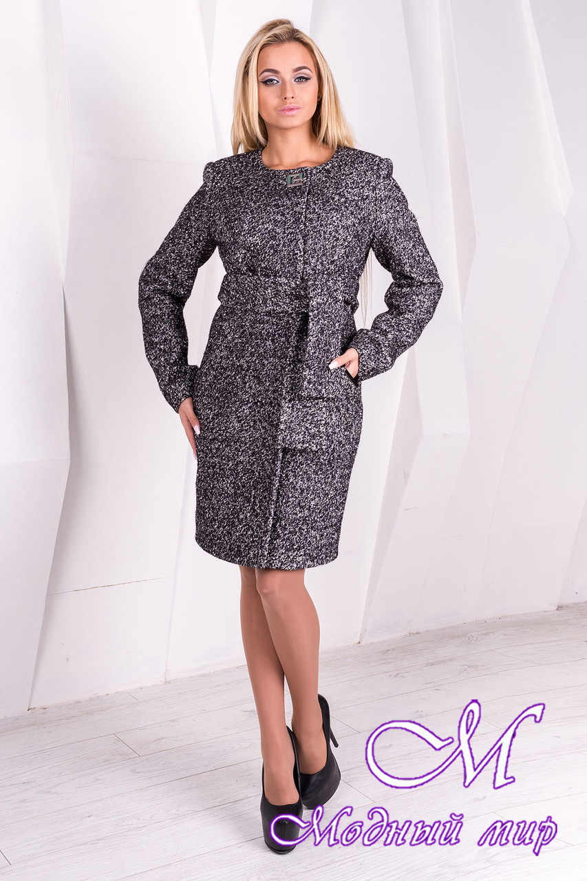 Женское весеннее пальто с поясом (р.S, M, L) арт. Луара лайт крупное букле 10093