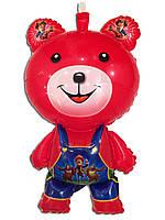 Воздушный шарик мишка в штанишках красный 87 х 50 см.