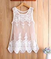 Майка женская кружевная белая Oih,стильная женская одежда