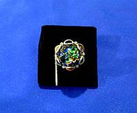 Женское серебряное кольцо с опалом и золотыми пластинами