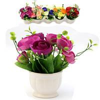Цветы букет эустомы в греческом горшке 14 см