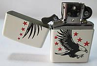 Зажигалка ZIPPO (28708) белая, матовая, рисунок - орел  и звезды