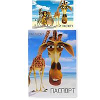 Обложка на паспорт прозрачная с вставкой жирафа (50)