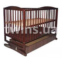 Детская кроватка-колыбель Klups Radek с ящиком(орех)