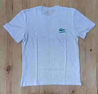 """Белая мужская футболка 100% хлопок """"Lacoste"""" с логотипом  ФМ-20"""