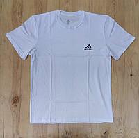 """Белая мужская футболка 100% хлопок """"Adidas"""" с логотипом  ФМ-21"""