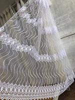 Тюль фатин белого цвета Зеркальце 5003