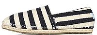 Женские эспадрильи Toms Black White (Томс) черные/белые в полостку