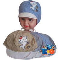 Детская летняя шапочка на завязках  арт.193 (х/б, аппликация) , для  мальчика (р-р 48)
