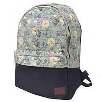 Молодежный городской рюкзак цветы 1353 черно-салатовый, фото 1