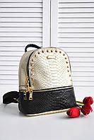 Женский модный рюкзак двухцветный под рептилию