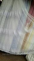 Белый фатин тюль с нежной цветочной вышивкой 1610