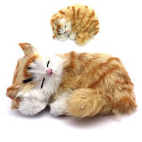 Пушистик котик средний клубок спит 11x9,5 см