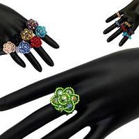 Кольцо кристал цветочек с бисером вокруг