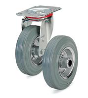Колеса с литой серой резиной и стальным диском. Нагрузка 50 - 205 кг. t экспл. -20 - +60С. Серия 13